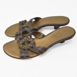 *Cole Haan Sz 6B Leather Studs Slip On Mule Heels
